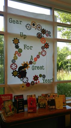 Gear Up for A Great Year-Ms. Sue's display for 2015 fall in teen area (Cool Teen Ideas) School Library Displays, Library Themes, Classroom Displays, Classroom Themes, School Libraries, Classroom Environment, Library Ideas, Classroom Organization, Stem Bulletin Boards