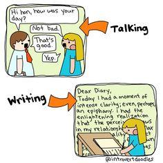 Talking vs Writing | Introvert doodles