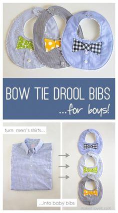 Baby Boy's Bow Tie Drool Bib Free Sewing Pattern | Fabric Art DIY