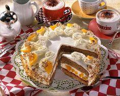 Peach Cappuccino Cake Recipe DELICIOUS - Our popular recipe for peach cappuccino cake and over other free recipes LECKER. Cappuccino Cake Recipes, Cappuccino Torte, Cappuccino Machine, Cappuccino Coffee, Delicious Cake Recipes, Yummy Cakes, Yummy Food, Homemade Quiche, Best Organic Coffee