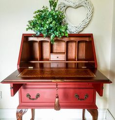 Forgotten Gems completed this lovely red bureau with GF Tuscan Red Milk Paint.