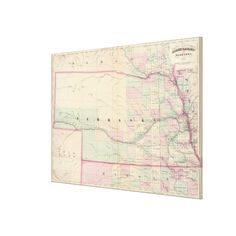 Vintage Map of Nebraska (1874) Canvas Print