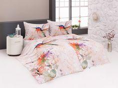 Povlečení SPIRIT, ledňáček s květinami meruňkové, bavlna hladká digitál (více rozměrů) | TextilCentrum.cz Comforters, Decor, Furniture, Bed, Home, Home Decor