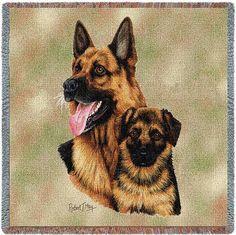 German Shepherd Dog and Puppy Portrait Throw