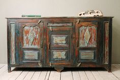 Antique Indian Warm Industrial Farm Chic Red Blue Sideboard Buffet Media Console