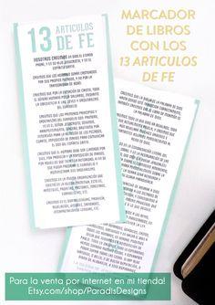 Marcador de libros con los 13 Articulos de Fe- en venta por internet en mi tienda!