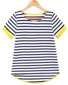 Black Short Sleeve Striped Dipped Hem T-Shirt