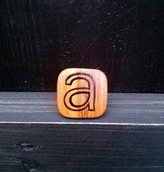 Large, handmade, wood letter ring