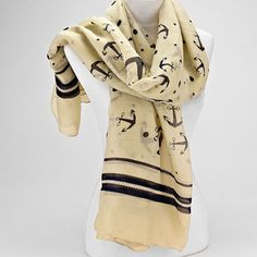 Navy Anchor and Beige Nautical Pareo Scarf