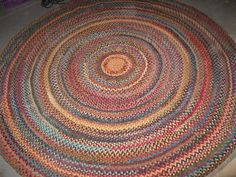 Vintage Wool Braided Rug In Red And Dark Gray From Upcycled Craft