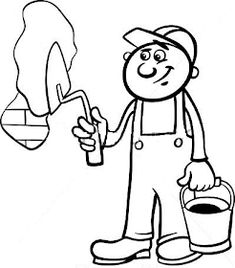 Worker with trowel coloring page vector image on VectorStock Coloring Books, Coloring Pages, Black And White Cartoon, Cool Items, Vector Free, Cool Stuff, Illustration, Fictional Characters, Colouring In