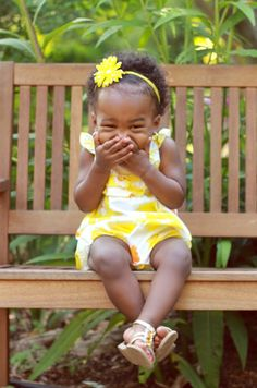 giggles on a bench