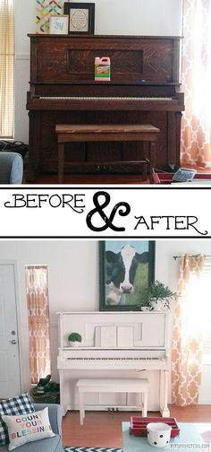 DIY painted piano before and after