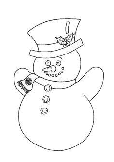 Un joli bonhomme de neige chapeauté à colorier pour Noël.