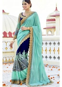 buy Titillating Turquoise And Blue Georgette Party Wear Saree Online, buy Saree online, Saree online shopping Sari Design, Netted Blouse Designs, Saree Blouse Designs, Indian Wedding Outfits, Indian Outfits, Latest Indian Saree, Indian Sarees, Crepe Silk Sarees, Georgette Sarees