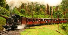 Puffing Billy, Australia's favourite steam train   nr. Melbourne  Take Belgrave train line from Melbourne to Belgrave. Steam train leaves Belgrave at 10:30, 12:30 and 14:30. Takes an hour to get to Lakeside. Leaves an hour later.