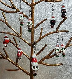 Christmas Skull Santa Earrings with rhinestones and crystal beads   Jewelry & Watches, Handcrafted, Artisan Jewelry, Earrings   eBay!