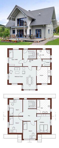 Einfamilienhaus Neubau modern im Landhausstil, 6 Zimmer Grundriss mit Satteldach Architektur, Holzfassade & Zwerchgiebel mit Balkon - Haus bauen Ideen Fertighaus Design Natur 156 von Frammelsberger Holzhaus - HausbauDirekt.de