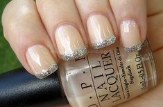 Coats of OPI Coney Island Cotton Candy with Love & Beauty Silver Glitter on the tips