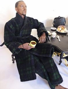 Ken doll plaid robe and pj pants. Blue and green corduroy 2 piece sleepwear set, Fits Ken and similar sized male dolls by Dollsviewpoint on Etsy Black Baby Dolls, Beautiful Barbie Dolls, Valley Of The Dolls, Sleepwear Sets, Pj Pants, Ken Doll, Black Barbie, Barbie World, Barbie Friends