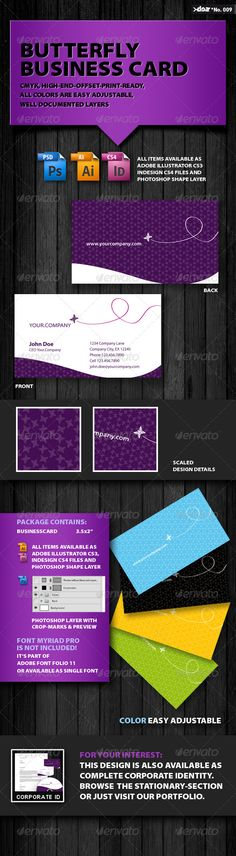 """Butterfly Business Card  #GraphicRiver         You receive a CMYK -Offset-Print-Ready-BusinessCard containing the following items:   - Business Card 3.5×2"""" (Front & Back) - Preview - Info-File   All items are available as ADOBE Illustrator CS3 , Indesign CS4 Files and Photoshop Shape-Layer.     To change the color just adjust the color-swatches in Indesign or Illustrator or in case of the psd-file change the color in the fx-layer """"color-overlay"""" of the corresponding Layer     All items…"""