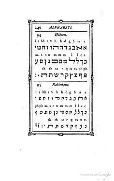 Hebrew from Pierre Simon Fournier le jeune, Manuel typographique, tome 2, 1776, article VI : Alphabets des langues modernes et anciennes