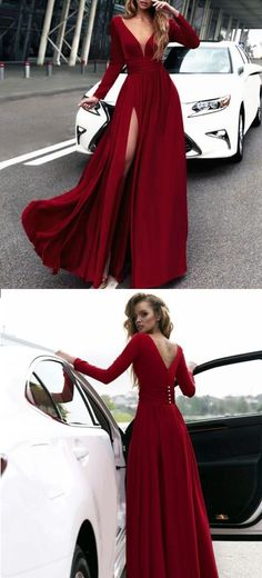 Long Sleeves Formal Evening Gown Wine Red,V Neck Prom Dress With High Slit #longpromdresses