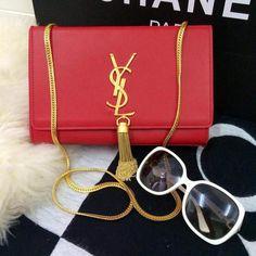 Saint Laurent mini Monogramme Cross-body Shoulder Bag 326076 Red b49e4f40a07b9