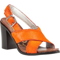 SAM EDELMAN Ivy Sandal Orange Hair Calf ($70) ❤ liked on Polyvore featuring shoes, sandals, orange, high heel sandals, chunky sandals, chunky high heel shoes, cushioned shoes and orange sandals