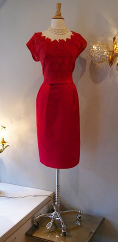 60s Dress // Vintage 1960s Red Hot Lace Dress by xtabayvintage, $148.00