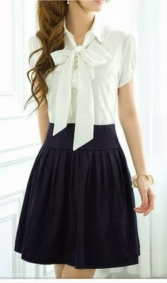 Black skirt with white shirt