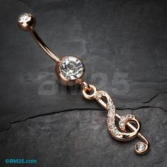 Rose Gold G Clef Sparkle Belly Button Ring