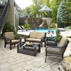 Home Styles Lanai Breeze Deep Brown Woven 2-Piece Love Seat Patio Accent Chairs, End Table and Coffee Table