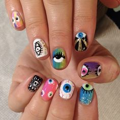 Eye nail art by Mia #superflynails. See more: http://sonailicious.com/nail-file-mia-rubie-owner-of-sparkle-san-francisco/