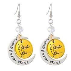 Xiehou Women's I Love You to the Moon and Back Engraved Bead Fish Hook Two-Tone Drop Earrings Xiehou http://www.amazon.com/dp/B00W3QQKA8/ref=cm_sw_r_pi_dp_Rhzovb0AXWK6D