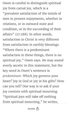 What is spiritual joy? http://www.desiringgod.org/articles/which-joy-rules-your-heart