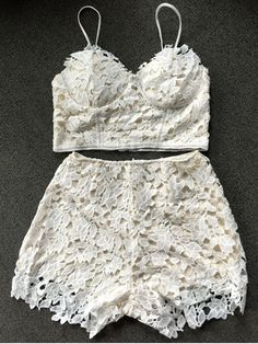 Lace Bralette Top and Shorts - WHITE M