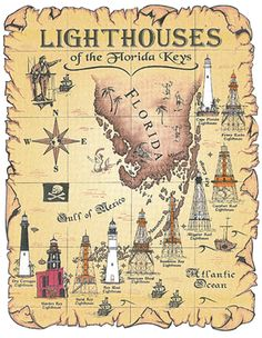 Heres a map of the lighthouses in Florida including those around