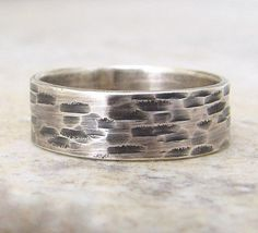 Mens Wedding Band Hammered Silver Wedding Ring Birch Bark Woodgrain Ring