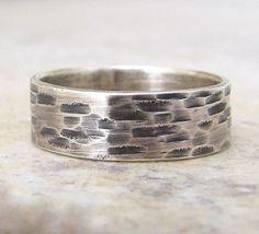 Silver Bark Ring Mens Wedding Band Hammered Rustic 48 00 Via Etsy Groom Threads Pinterest Rings