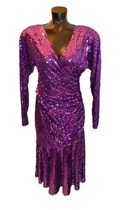 a2751d9897e Oleg Cassini Vintage 80s Purple Sequin Prom Party Formal Dress size 12   fashion  clothing