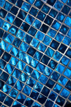.Beautiful mosaic wall in shades of blue.