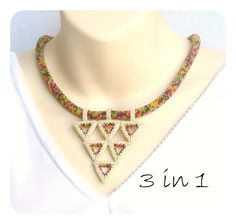 Geometric Necklace  Beadwork in Warm Colours with by DianaCoe, £134.00