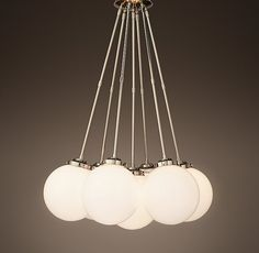 Parisian Architectural Milk Glass Poste Cluster Pendant