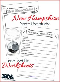 New Hampshire Fact File Worksheets