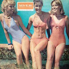 Sleek Lycra shapemakers. Watersun, available at Myer. Women's Weekly Nov 1977  #myer #swimsuit #watersun #vintage #retro #1970s #70s #seventies #australian_vintage_clothing