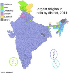 Largest religion by district in India, 2011 census.