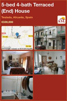 Terraced (End) House for Sale in Teulada, Alicante, Spain with 5 bedrooms, 4 bathrooms - A Spanish Life Single Bedroom, Double Bedroom, Valencia, Alicante Spain, Garage House, Ground Floor, Townhouse, Terrace, Restoration