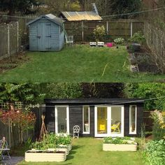 Before and after for the garden feels much more spacious now, I need to put some height in now, on the look out for some black metal arches, can anyone recommend any? Metal Arch, Potager Garden, Edible Garden, Arches, Black Metal, Office Ideas, Feels, Shed, Rooms