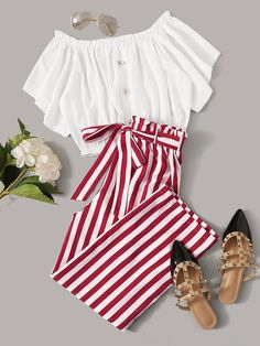 To find out about the Frill Trim Top & Striped Paperbag Waist Belted Pants Set at SHEIN, part of our latest Two-piece Outfits ready to shop online today! Girls Fashion Clothes, Teen Fashion Outfits, Girly Outfits, Cute Casual Outfits, Look Fashion, Outfits For Teens, Pretty Outfits, Stylish Outfits, Girl Fashion